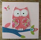 Owl baby girls bedroom nursery canvas picture/wall decal pink decor mobile child | eBay