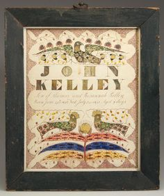 EXTREMELY RARE AND IMPORTANT HAMPSHIRE CO., VIRGINIA : Lot 268, $28,000 at Jeff Evans Provenance: Collection of the late John and Lil Palmer, Purcellville, VA. Catalogue Note: This fraktur and the example in lot 269 are exceptionally fine and rare works of Southern folk art and represent two of only six known examples by this unidentified artist working in Frederick and Hampshire Counties in the 1840's and 1850's.