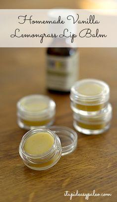 Homemade Vanilla Lemongrass Lip Balm | stupideasypaleo.com. ☀CQ #crafts #how-to #DIY