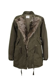 LEMPELIUS Fall Winter 2015 16 Women Army green cotton jacket with lamb fur facing