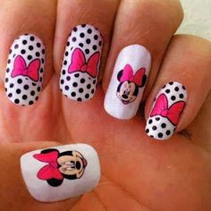 Spare a little time to fashion your nails with vibrant nail art designs. When creating nail designs such as flowers, each part is made individually in advance, Fancy Nails, Love Nails, Pink Nails, Pretty Nails, Gorgeous Nails, Minnie Mouse Nail Art, Minnie Mouse Nails, Pink Minnie, Nailart
