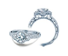 VENETIAN-5025R engagement ring from the Venetian Collection, featuring 0.50Ct. of round brilliant diamonds to enhance a round diamond center.