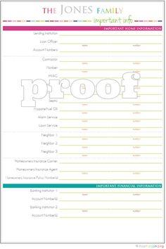 Household binder - Important Info printable $3