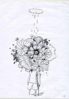 목발,꽃,구름,비,일러스트,상처,소년