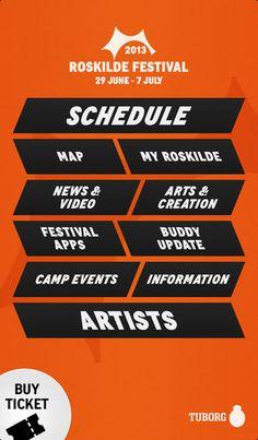 Roskilde Festival App Flat Web Design, App Ui Design, Interface Design, Mobile Application Design, Event Website, Branding Your Business, Interactive Design, Graphic Design Inspiration, Banner Design