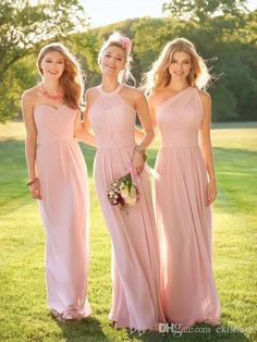 2017 New New Elegant Blush Pink Chiffon Long Bridesmaid Dresses Ruched Simple Floor Length Party Evening Dresses Custom Made Different Bridesmaid Dresses Gold Bridesmaids Dresses From Ekishow, | Dhgate