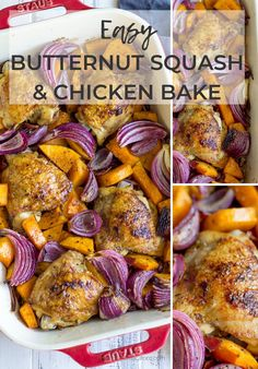 If you're looking for simple dinner recipes for busy weeknights, try this Baked Crispy Chicken With Butternut Squash. It's easy to make, delicious and full of cozy flavors.