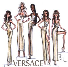 Quick sketch of the iconic #Versace SS18 reunion featuring the original 90s #Supermodels #CarlaBruni #ClaudiaSchiffer #NaomiCampbell #CindyCrawford & #HelenaChristensen #MFW #Versace20thAnniversary