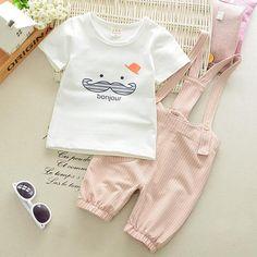 Baby Girls Boys Clothes Suits Infant Cotton Suits Casual Cute Beard T Shirt+Stripe Straps Shorts Children Kids Suits