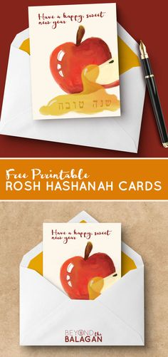 Looking for somre free printable Rosh Hashanah Cards? The design on these are perfect for anyone wanting to send a Jewish greeting card for the new year! Rosh Hashanah Greetings, Rosh Hashanah Cards, New Year Greeting Cards, New Year Card, Free Printable Cards, Free Printables, Jewish High Holidays, Jewish Greetings, Simchat Torah