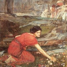 Maidens Picking Flowers by a Stream by John William Waterhouse