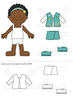 Girl Scout printable black / African-American / person of color printable paper dolls - 3 other dolls on site Girl Scout Logo, Girl Scout Vest, Girl Scout Activities, Activities For Girls, Girl Scout Juniors, Daisy Girl Scouts, Paper Dolls Printable, Brownie Girl Scouts, African American Dolls