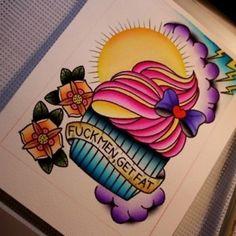 Cute cupcake tattoo flash