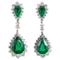 For Sale on - Diamond and green emerald drop earrings, finely crafted in platinum and 18 k yellow gold, featuring pear shaped Brazilian emerald drops, weighing Emerald Earrings, Green Earrings, Gold Drop Earrings, Emerald Green Jumpsuit, Brazilian Emerald, Jewelry Companies, Diamond Jewelry, Wedding Jewelry, Turquoise Necklace