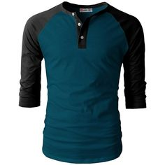 651665ae5a H2H Mens Casual Slim Fit Raglan Baseball Three-Quarter Sleeve Henley... (