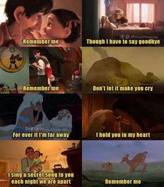 Remember me - Disney / Pixar/ Dreamworks - Memes Disney Memes, Disney Cartoons, Funny Disney Jokes, Funny Memes, Sad Disney Quotes, Watch Cartoons, Pixar Up Quotes, Disney Quotes About Love, Disney Cartoon Movies