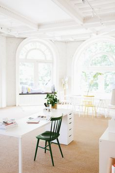 coco+kelley's all white office in seattle with gorgeous windows!