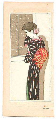 Takehisa Yumeji: Looking at Falling Snow - Japanese Art Open Database