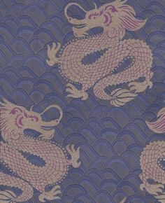 Celestial Dragon (W6545-03) - Osborne & Little Wallpapers - An imperial Chinese dragon motif with beaded scales on a metallic wave background.  Shown here in the ink blue, amethyst and metallic gold.  Please request a sample for true colour match.