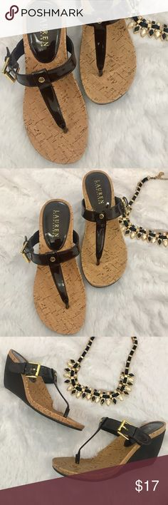 """Ralph Lauren Roseanne Cork Wedges NEW Sz 6 Brand new Ralph Lauren wedges that are perfect for spring and summer! 3.5"""" heel. Bundle to save $ and thanks for shopping our closet! Lauren Ralph Lauren Shoes Wedges"""