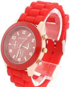 Reloj de goma en color rojo. #tiendaonline #moda #tendencias #relojes