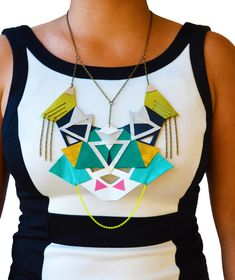Green Emerald Statement Necklace Geometric by BooandBooFactory, $146.00