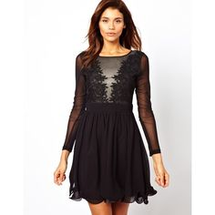 Little Mistress Skater Dress with Lace and Mesh Bodice ($22) ❤ liked on Polyvore featuring dresses, fit and flare dress, floral dresses, floral fit-and-flare dresses, purple fit and flare dress and long-sleeve skater dresses