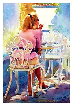 "Cafe solo by Graham Berry Watercolor ~ 18"" x 12"""