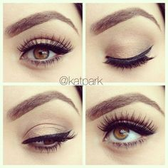 Simple Eye Makeup Tutorial For Brown Eyes :heart: liked on Polyvore featuring beauty products, makeup and eye makeup