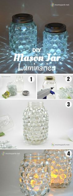 For this project you will need: glass gems hot glue gun mason jars tea light candles or battery operated tea light candles solar jar lids More info and instructions about this great tutorial you can find in the source url - above the photo. diyfuntips.com is a collection of the best and most creative do […] #DIYHomeDecorLights