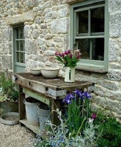 Barn garden tables.