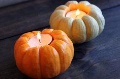 DIY pumpkin votive holders by pommesfrites, via Flickr