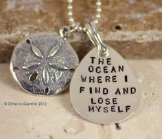 the ocean where I find a lose myself ~ sterling silver jewelry ~ sand dollar ~ $66