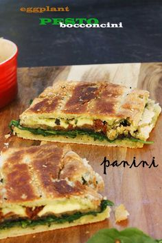 Eggplant, pesto and bocconcini panini - perfect for a relaxed weekend brunch! By Scrummy Lane. Vegetarian Panini, Vegetarian Entrees, Pesto, Brunch Recipes, Breakfast Recipes, Recipe Center, Sammy, Panini Sandwiches, Cooking Recipes