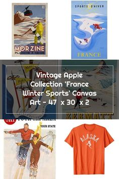 Trademark Global Vintage Apple Collection 'France Winter Sports' Canvas Art - 47  x 30  x 2