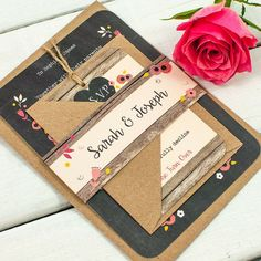 Berry Floral Chalkboard Wedding Invitation Bundle from normadorothy on Etsy