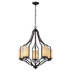 Showcasing a cage-inspired steel design in oiled bronze, this eye-catching 5-light chandelier blends traditional style with contemporary appeal. ...