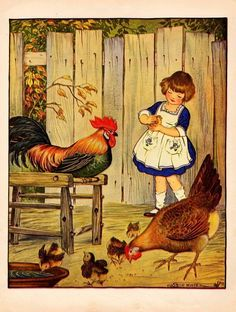 children Illustration Winter - Chickens, Girl Petting Chick, by Milo Winter, Nice Vintage Print, 1921 Art And Illustration, Illustrations Posters, Vintage Illustrations, Vintage Children's Books, Vintage Art, Vintage Pictures, Vintage Images, Chicken Art, Chicken Painting