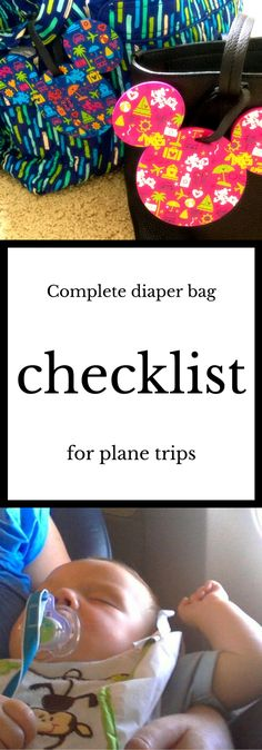 A complete checklist for packing a diaper bag for a plane trip with a baby or toddler - click to learn more!