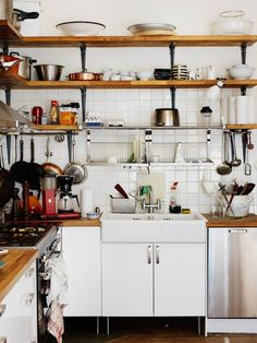"""[apron front sink, open shelving with wood, cabinets on legs. . . what more could one want? oh wait. . . a 48"""" 5 Star Range and a Meneghini Cambúse Double-Door Refrigerator!!!!! Again, LOVE the shelving!!!!!!!!!!!!!!]"""