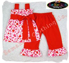 Custom Children Boutique Unique Handmade Cute Little Newborn Infant Toddler Baby Girl Clothes Clothing Valentines Day Pillowcase Tunic Dress Top w/ Matching Red Ruffle Pant Bottom Outfit Set 3 6 9 12 18 24 month size 2T 2 3T 3 4T 4 5T 5 6 7 8