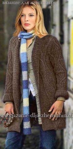 Модное вязаное пальто спицами 2016 - вязание пальто