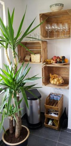 Cozy, Newly Renovated, and Furnished Flat. Nice storage idea for the kitchen. The wooden boxes provide more space and order. # wooden box # kitchen # storage</p> Diy Storage Boxes, Diy Kitchen Storage, Wooden Kitchen, Kitchen Decor, Kitchen Furniture, Küchen Design, House Design, Dorm Room Organization, Wooden Boxes