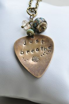 Just Breathe Hand Stamped Vintaj, Lampwork & Glass Necklace £13.50