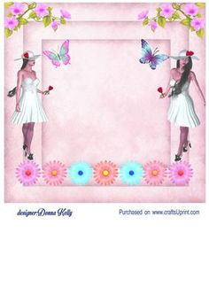 pretty in white insert2 on Craftsuprint designed by Donna Kelly - multi use insert with a pretty girl, flower, roses and butterflies. Approx 7x7 - Now available for download!