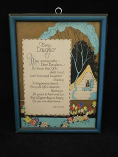 "Vintage Framed Buzza ""Style"" Motto - To My Daughter by Volland #Vintage"