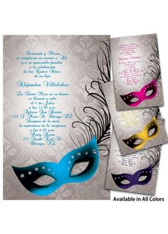 quinceanera ideas | Masquerade Quinceanera Invitations, Quince ...