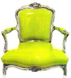 French fauteil in chartreuse patent leather... No but seriously, I NEED THIS!