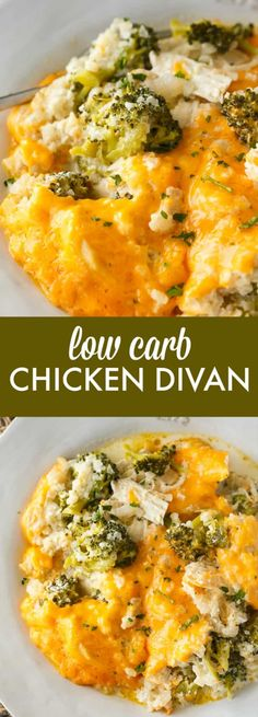 Low Carb Chicken Divan - This comforting casserole has a creamy sauce made with chicken, broccoli, cheddar cheese and cauliflower rice. You won't even miss the extra carbs. Carb Broccoli and Cheese casserole Low Carb Chicken Divan Low Carb Chicken And Broccoli, Low Carb Chicken Recipes, Healthy Low Carb Recipes, Low Carb Dinner Recipes, Broccoli Recipes, Keto Recipes, Easy Recipes, Recipe Chicken, Keto Chicken