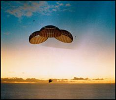 26 May 1969  The Apollo 10 spacecraft approaches touchdown in the South Pacific recovery area.